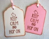 Easter Bunny Tags, Keep Calm and Hop On -Set of 6 Rabbit Gift Tags (Easter favors, goody bag tags, candy bag tags, Easter gift wrap)