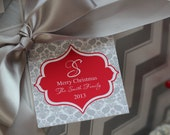 Personalized and Monogram Christmas/Holiday 2.5 inch Gift Tags by Marbella Designer Party Printables