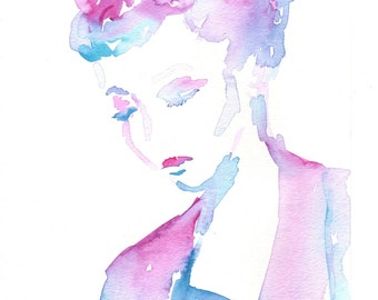"On Sale ""Lucille"" by Jessica Buhman, Print of Original Watercolor Painting, 8 x 10 Green Blue Purple Pink Floral"