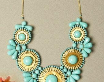 Turquoise Statement Necklace - Bib Bubble Big Bold Chunky Unique Bead Bib Statement Necklace