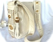 Vintage Leather Shoulder Bag By PINKY Glove Soft, Ivory Leather Like New Stunning Design Nice And Big Calf Skin Leather