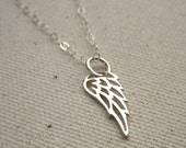 Tiny Cutout Angel Wing Sterling Silver Necklace - Memorial Jewelry - Customize, Personalize