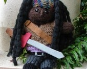 "Samurai Zombie Hunter, Hand Knitted, approximately 13"" tall"