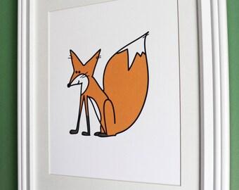Cute Orange Fox, 8x10 Print, Woodland Wall Art