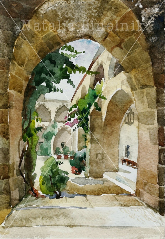 Khan el Franj architecture landscape with arc digital download from original watercolor famouse place clipart old city in Lebanon, Saida