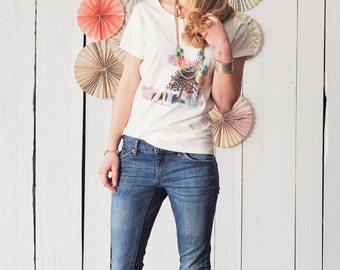Watercolor women's fitted short sleeve T-shirt