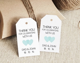 Wedding Thank You Gift Tags Template : Favor Tag Template, Printable SMALL Double Heart Design, Wedding Tag ...