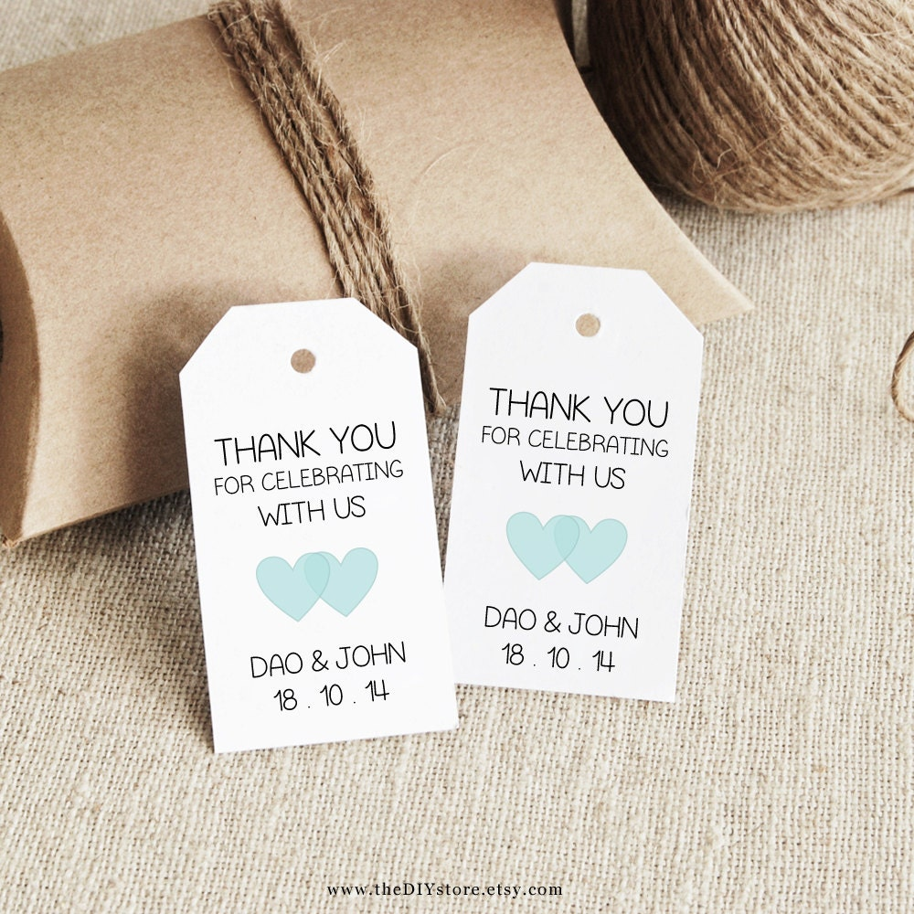 Template For Wedding Gift Tags : Favor Tag Template Printable SMALL Double Heart Design