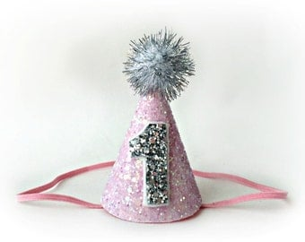 Girl Birthday Hat || Girl Birthday Party Hat || First Birthday Pink and Silver Party Hat || 1st Birthday Girl Party Hat || Pink + Silver
