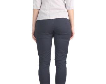SALE - Grey Scoop Back Top, Blouse, Shirt, Tunic, Low Back, Scoop Neckline, Tencel, Boat Neck, Light Grey, Slate, Bracelet Sleeves, Casual