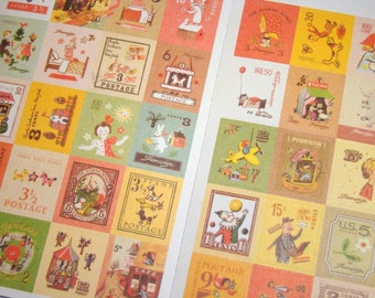 Kitsch Stickers -  Cute Retro Style European Postage Stamps, 80 Pieces