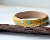 Autumn bracelet - Wooden bangle - Yellow bracelet - Blue Yellow