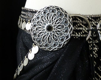 Tribal Fusion Belly Dance Belt Adornment: Twelve Pointed Star with Onyx. One Disc. MADE TO ORDER.
