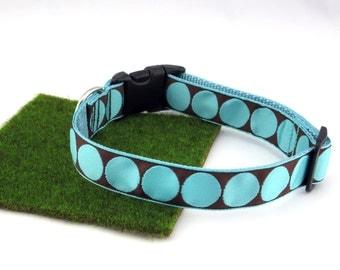 "Light Blue Polka Dots On Brown Spring Summer Dog Collar, 1"" Wide"