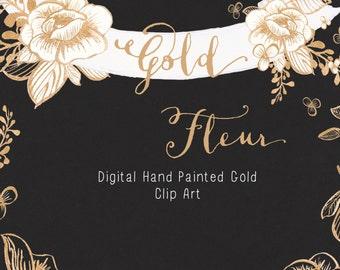 Hand Painted Gold Clip Art - Gold Fleur