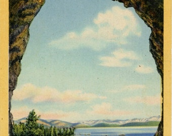 Lake Tahoe View from Cave Rock California Vintage Postcard 1946