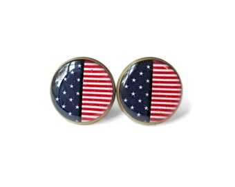 Stars and Stripes Flag Earrings - Red, White, and Blue Pop Culture American Flag Jewelry - Patriotic Independence Day 4th of July Earrings