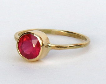 ruby ring, simple ruby ring, handmade ruby ring, gold ring, 14k gold ring, ruby, real ruby ring, genuine ruby