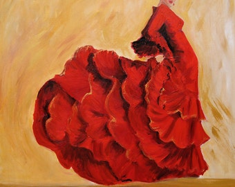 Flamenco painting- Flamenco dancer wall art in red dress limited edition giclee print on canvas with gold background gift