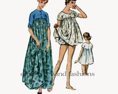 1950s Empire Waist Baby Doll Nightgown Bloomer Panties Pajamas Sleepwear Loungewear Muu-Muu Bust 34 36 McCalls 5161 Vintage Sewing Patterns