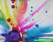 Abstract Rainbow Flower Original Watercolor Ink Painting Pink Purple Aqua yellow teal blue splash Home Decor Wall Art
