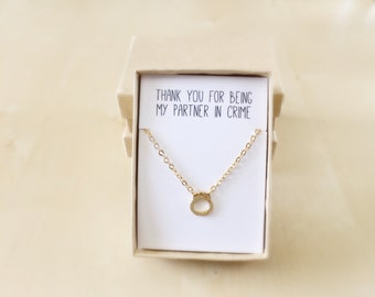 Partners in Crime Necklace, Best Friend Jewelry, Gold Handcuff Necklace Gift