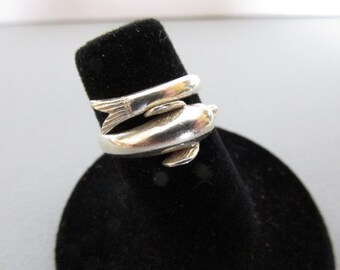 Sterling Silver Ring - Dolphin Ring - Aquatic Ring - Hallmarked Ring - Collectible Jewelry