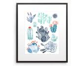 Art Print Cacti Desert Oasis Plant Life Watercolor Illustration Digital Art