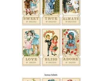 Digital vintage tickets /  vintage vignettes  / collage sheet / 6 designs plus 3 bonus floral tickets / downloadable, printable ephemera