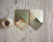 Christmas envelopes - set of 2 envelopes - small mini note envelopes - handmade new year winter- dark green grey rustic - europeanstreetteam
