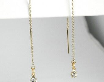 14k Gold Filled Ear Thread Earrings with Clear Swarovski Crystal Drop, Gold Ear Threads
