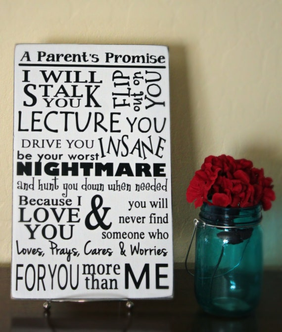 A Parent's Promise Wall Sign - Custom Wood Sign - Wood Board Home Decor 8x12