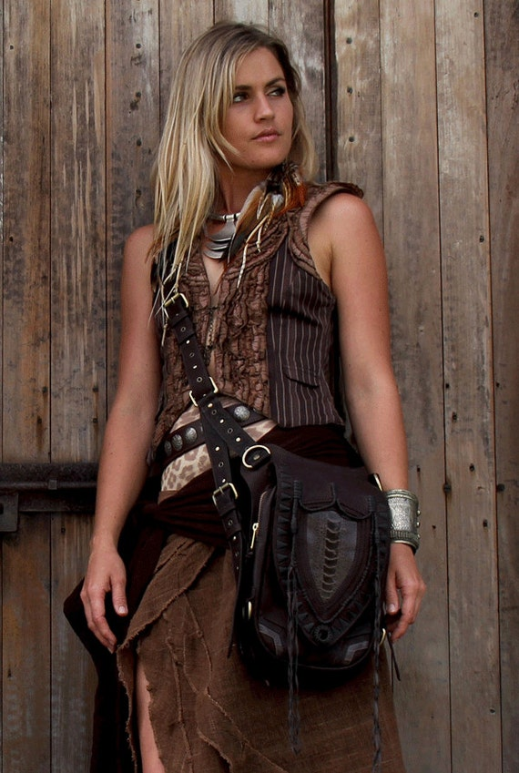 Leather holster, leather utility belt, festival belt, steam punk belt, tribal jungle, navajo, messenger bag