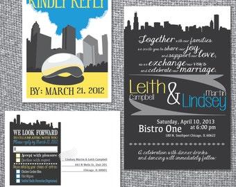 Printable Wedding Invitation and RSVP postcard - Chicago Skyline Theme