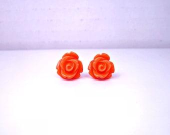 Orange Rose Stud Earrings; Resin Rose Earrings; Lead and Nickel Free Post Earrings; Rose Bud Earrings; Rose Jewelry; Orange Stud Earrings
