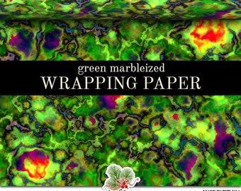 Green Marbleized Wrapping Paper | Custom Marbleized Gift Wrap Paper Roll 9 feet or 18 feet  Great For Any Occasion.