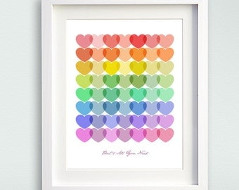 "Love Is All You Need Art Print - All You Need Is Love wall art - teen girl art print - heart nursery art - Unframed 8""x10"" or 11""x14"""