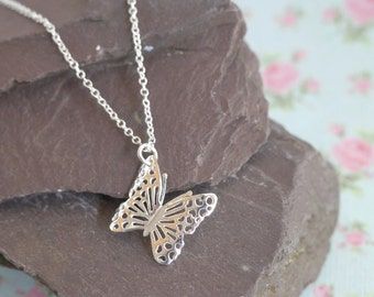 Sterling Silver Butterfly Necklace, Mothers Day Gift For Mum, Butterfly Pendant, Butterfly Jewellery, Gift for Best Friend or Bridesmaid