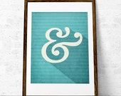 Ampersand print typography poster retro letter art Ampersand poster Monogram print Turquoise print Aqua print teal print. UK