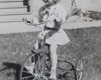 Cute 1930's Little Girl And Her New Tricycle Snapshot Photo - Free Shipping
