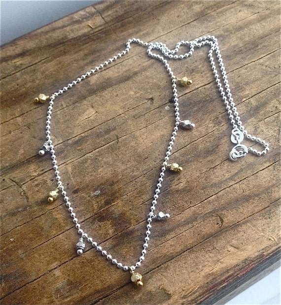 Mixed Metal Necklace, Silver and Gold Dangle Necklace, Minimalist Jewelry, Thai Silver, Layering Necklace
