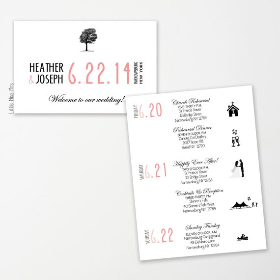 Printable Wedding Timeline of Events - Wedding Weekend Itineraries -  wedding weekend schedule of events for guests and wedding party