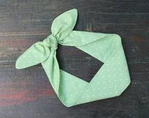 SUMMER SALE. Mint Green Tie Up Headscarf. Vintage Inspired Pinup Headband. Polka Dot Wire Headband. Green Dolly Bow. Mint Polka Dot Headwrap