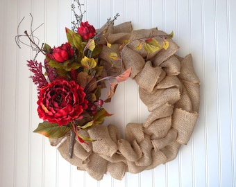 Burlap wreath with red peony. spring wreath, red wreath, wreath with burlap, door wreath, wreath, wreaths, front door wreath, spring wreath