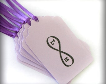Infinity initial tags 12 forever in Love bridal shower custom party tag food favors purple