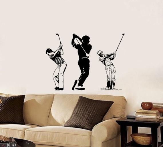 Items Similar To Wall Decals Sport Sportsmen Playing Golf Home Wall Vinyl Dec
