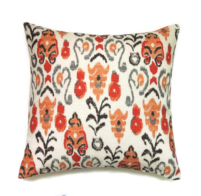 Orange Ikat Pillow 22x22 Pillow Cover Orange Sofa Decorative
