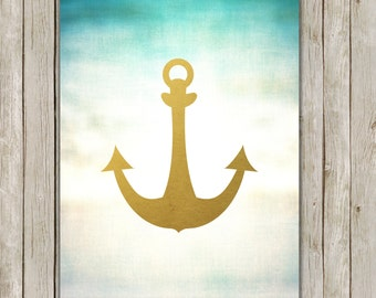 8x10 Anchor Print, Nautical Printable, Modern Wall Art, Nursery Printable, Home Decor, Seaside Beach Art, Poster, Instant Digital Download