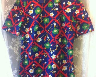 Mod Round Collar Mini Shift Dress Floral 60s