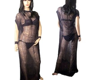 Hand Shredded Maxi Dress /Beach Cover Up/ Cob Web Dress Various Colors Made to Order